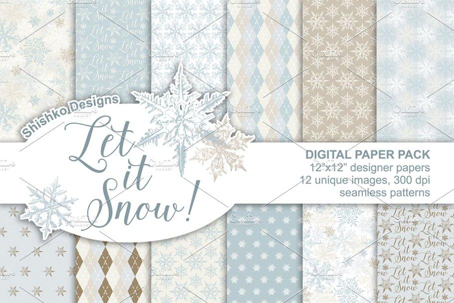 Winter Digital Paper Pack Custom Designed Graphic Patterns Creative Market