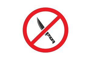Forbidden sign with knife glyph icon