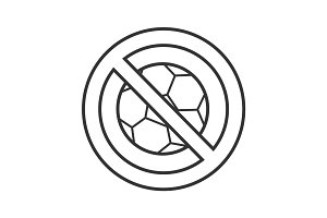 Forbidden sign with football ball linear icon
