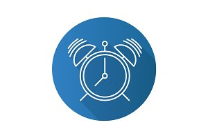 Alarm clock flat linear long shadow icon
