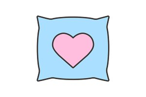 Pillow with heart shape color icon