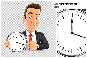 3D Businessman Pointing on Clock