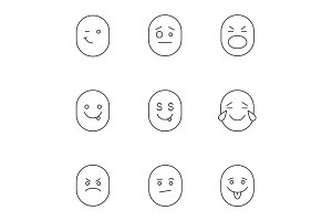 Smiles linear icons set