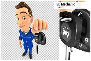 3D Mechanic Holding Car Key