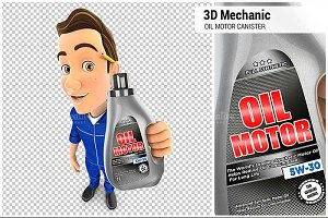 3D Mechanic Holding Oil Motor