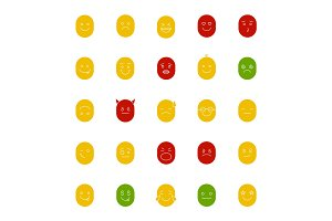 Smiles glyph color icon set