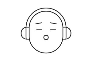 Smile with headphones linear icon