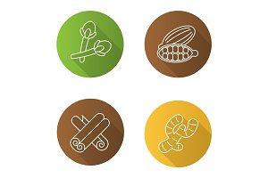 Spices flat linear long shadow icons set