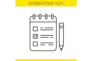 Spiral notebook with tick mark and pencil linear icon