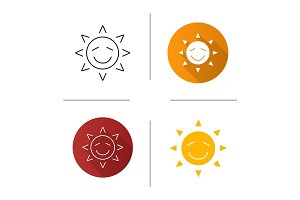 Happy sun smile icon