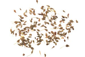 dried anise seeds isolated on white background. Top view