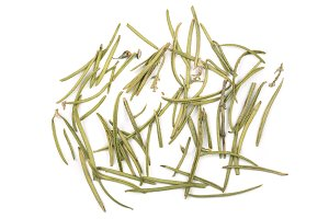 Dried rosemary or rosemarin leaves isolated on white background top view