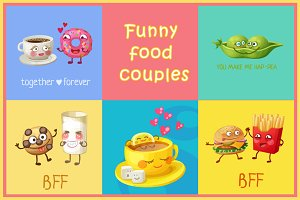 Cartoon funny cute food couples