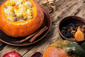 Vegetarian porridge with pumpkin