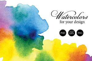 Set of 5 watercolor splashes