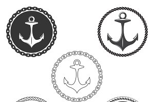 Vintage anchor logo elements set