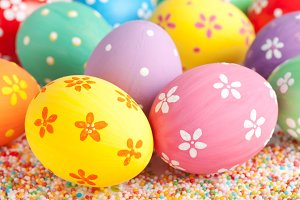 Multicolored easter eggs close up