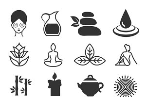 Yoga health and spa symbols