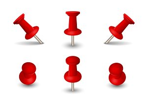 Set of office red thumbtacks