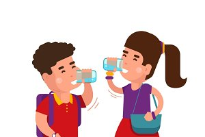 Girl and boy drink fresh water