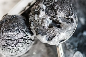 Scoops of Homemade Black Charcoal Coconut Ice Cream