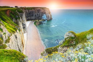 Amazing coastline of Normandy