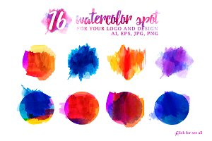 Set of watercolor spots for design