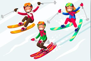 Skiing People Cartoon Characters