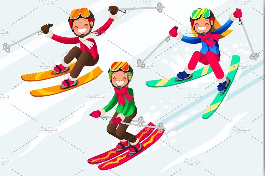 Skiing people cartoon characters illustrations - Ski alpin dessin ...