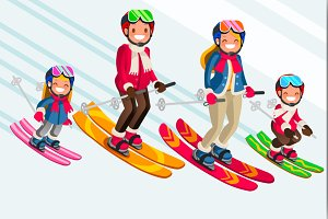 Snow Skiing People Family Vector Set