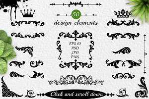 Decorative design elements and crows