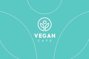 Vegan Cafe Healthy Logo Template