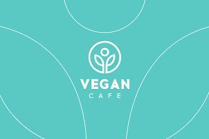 Vegan Cafe Healthy Logo Template