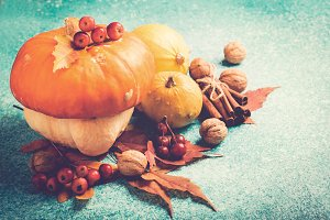 Autumn pumpkin Thanksgiving composition with leaves and nuts