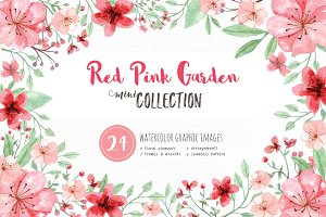 RedPink Garden Flower Graphic Set