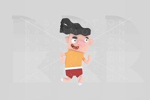 Running boy. 3d illustration.