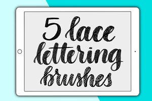 5 lace Procreate lettering brushes