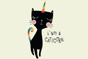 black cat-cute cat-unicorn cat