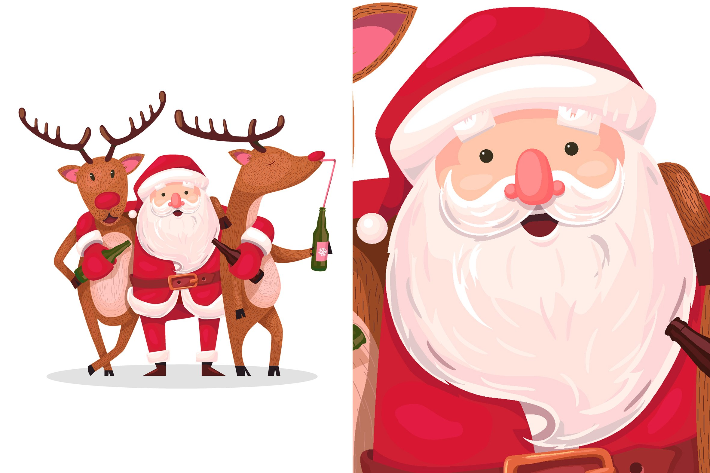 drunken santa and reindeer ~ Illustrations ~ Creative Market
