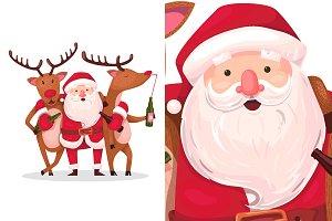 drunken santa and reindeer
