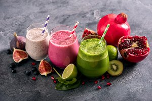Colorful healthy smoothies