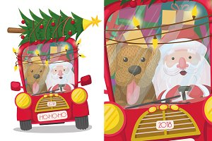 santa claus in the car with a dog
