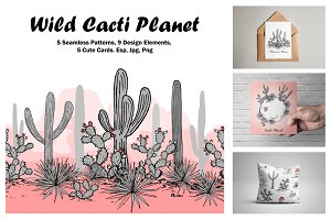 Wild Cacti Planet. Vector collection
