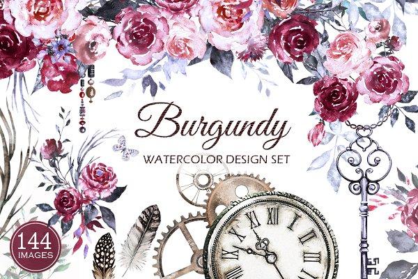 Watercolor Flower Clip Art -Burgund…