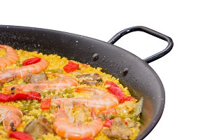 Traditional spanish paella in a pan