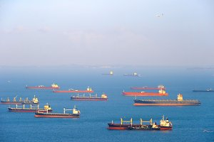 Cargo ships in Singapore harbor