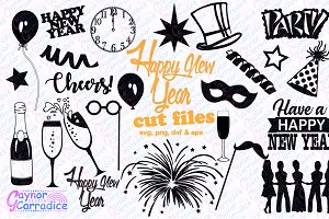 New Years SVG silhouette bundle