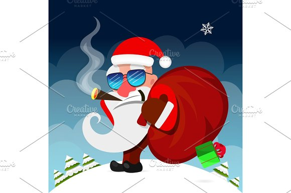 Santa Claus Pulls A Heavy Bag Full Of Gifts On Winter Landscape Background