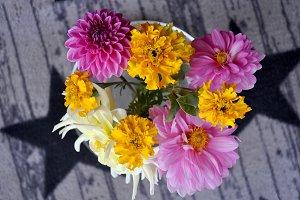 Colored dahlias bouquet