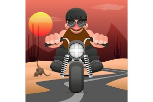 Biker riding a motorcycle drawn in hand made style.